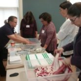 Workshop attendees learning about effects of water on materials
