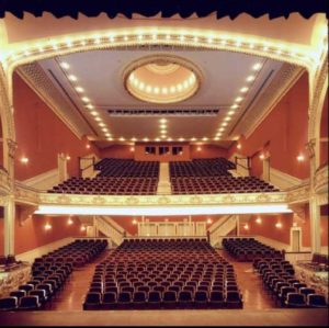 View of audience seating area from stage at Paramount Theatre, Rutland